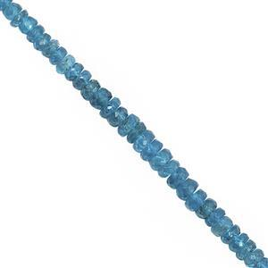25cts Neon Apatite Faceted Rondelles Approx 3 to 4x2mm, 16cm Strand.