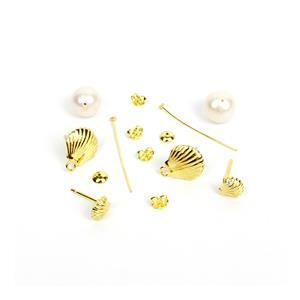 2 Pairs - Gold Plated 925 Sterling Silver Shell Shaped Earrings (2 Designs)