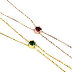 925 Sterling Silver Slider Bracelet With Emerald and Deep Red Crystal Swarovski