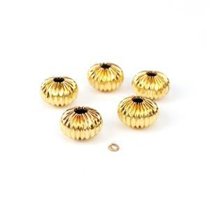 Gold Colour Base Metal Corrugated Spacer Beads, 5pcs (Approx 10x14mm)