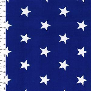 Rose & Hubble Cotton Poplin Royal Blue Stars Fabric 0.5m