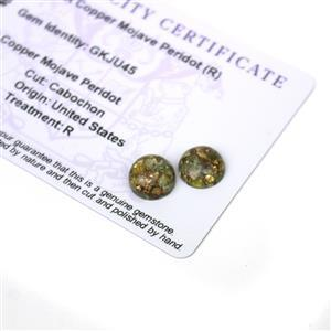 5.25cts Copper Mojave Peridot 10x10mm Round Pack of 2 (R)