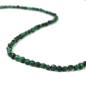 40cts Malachite Faceted Coins Approx 4mm, 38cm Strand