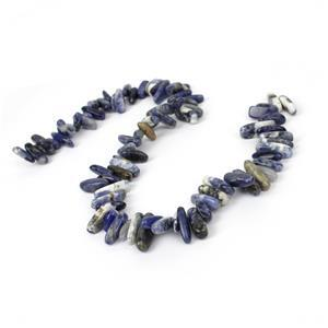 350cts Sodalite Long Chips Approx 13x5-20x8mm, 38cm strand
