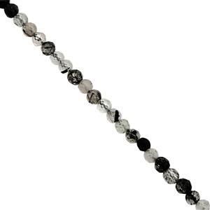 15cts Black Rutile Faceted Round Approx 2.25mm, 38cm Strand
