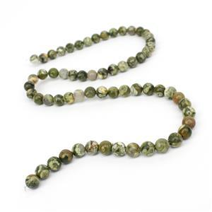 90cts Rhyolite Plain Round Loose Beads Strand Approx 6mm38cm