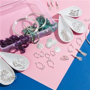 Silver Plated Copper Bumper Finding Kit Inc. 1800cts Multi Gemstones Small Nuggets (JRAZ98)