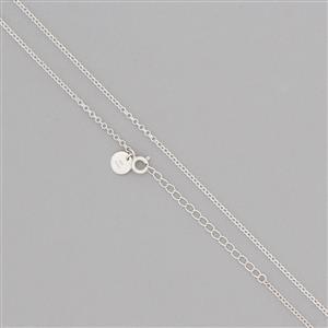925 Sterling Silver Finished Rolo Chain Approx 2mm, Length 40cm 5cm Extender