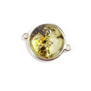 Baltic Earthy Amber Sterling Silver Connector Approx 22x18mm
