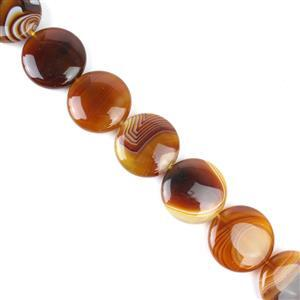 750cts Coffee Stripe Agate Puffy Coin Approx 30mm, 38cm/strand
