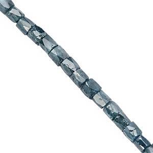 2.50cts Blue Diamond Graduated Faceted Pipe Approx 1.75x1.25 to 2.25x2mm, 7cm Strand