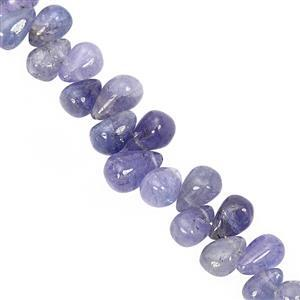 30cts Tanzanite Top SIde Drill Graduated Smooth Drop Approx 5x3 to 8.5x5mm, 10cm Strand