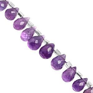 32cts Purple Amethyst Top Side Drill Graduated Faceted Drop Approx 5x3.5 to 9x5.5mm, 20cm Strand with Spacers