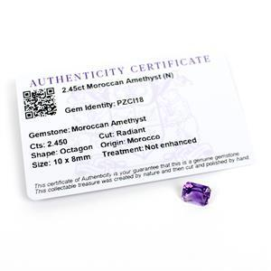 2.45cts Moroccan Amethyst Octagon Radiant 10x8mm