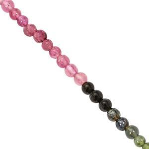 18cts Multi-Colour Tourmaline Plain Round Approx 3 to 3.5mm, 20cm Strand