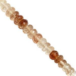 78cts Shaded Imperial Topaz Graduated Faceted Rondelles Approx 5x2 to 7.5x4.5mm, 19cm Strand