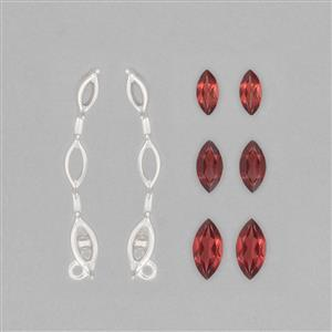 925 Sterling Silver Ear Climber Mount Fit Marquises Inc. 2.7cts Red Garnet Brilliant Marquises