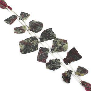 2 x 44cts Eudialyte Side Drilled Flat Irregular Approx 13x10mm to 27x16mm 11cm Strand