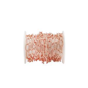 Rose Gold Plated Base Metal Cable Chain, Approx. 6x3.70mm (1m)