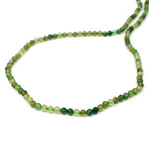 15cts Green Tourmaline Faceted Rounds Approx 3mm, 38cm Strand