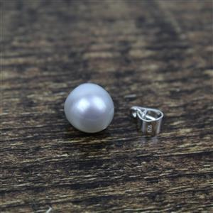 White Teardrop South Sea Cultured Pearl Approx 10-11mm With Sterling Silver Bail