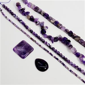 Weekend Wonder  1115cts Banded Amethyst Assorted Shapes & Sizes, 38cm Strands & Cabs (Set of 6)