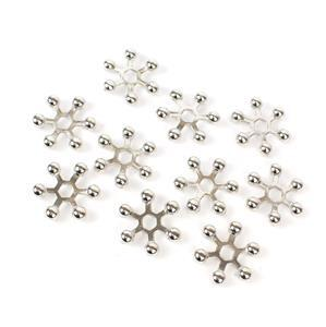 Silver Colour Star Beads Approx 25mm - 10pcs/pack