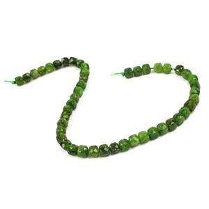25cts Diopside Faceted Cubes Approx 4mm, 19cm Strand