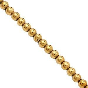 80cts Golden Haematite Plain Round Approx 4mm, 38cm Strand