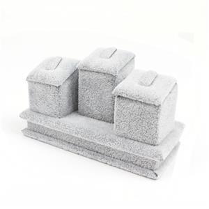 Grey Velvet Flannette Ring Stand Trio 12x7x6.5cm