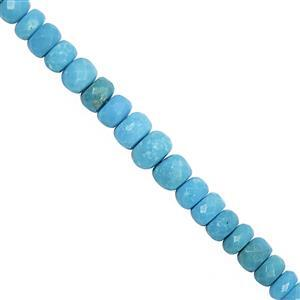 20cts Sleeping Beauty Turquoise Graduated Faceted Rondelles Approx 3.40X2.30 to 5.50x3.75mm, 10cm Strand