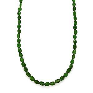 56ct Chrome Diopside Sterling Silver Bead Necklace