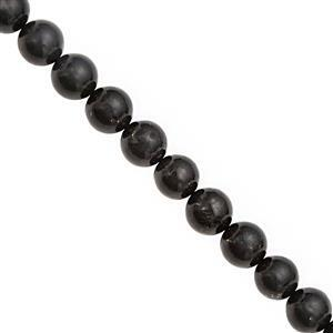 120cts Shungite Smooth Round Approx 9.50 to 10mm, 20cm Strand