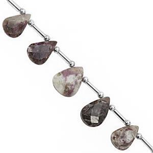 58cts Rubellite Quartz Top Side Drill Graduated Faceted Pear Approx 11x8 to 16x11mm, 17cm Strand With Spacers