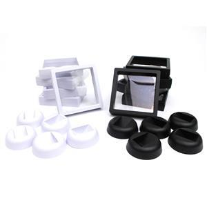 Displays! Black & White Square Display Boxes With Stand, Approx 9x9x2cm  (10pcs)