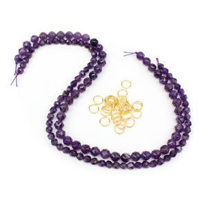 Star Cut Amethyst Chainmaille Goddess Bracelet Kit with Gold Plated Sterling Silver