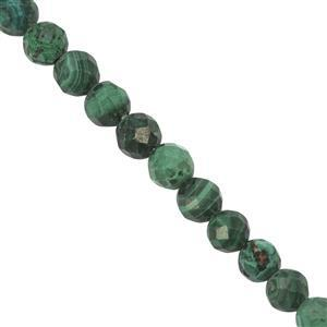 35cts Malachite Faceted Round Approx 4mm, 27cm Strand