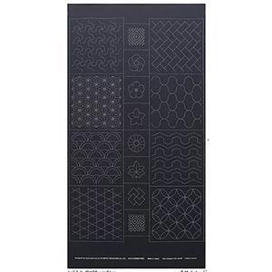 Sashiko Tsumugi Preprinted Geo 19 Black Fabric Panel 108x61cm