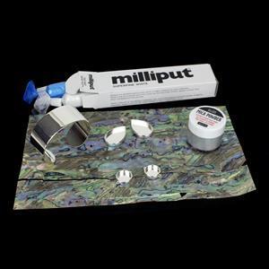 Pearl Haze; Abalone Sheet, Silver Base Metal, Milliput & Mica Powder