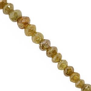 2.10cts Golden Diamond Graduated Faceted Rondelle Approx 1.5x1 to 2.5x2mm, 5cm Strand