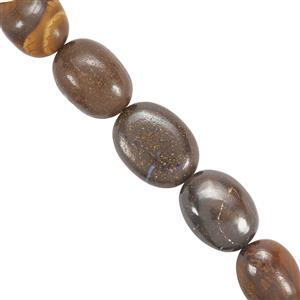 87cts Boulder Opal Plain Oval 9.9x7.2mm to 16x12mm 14cm Strand