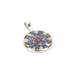 Murano Murrina & Rhodium Plated Sterling Silver Pendant, 18mm