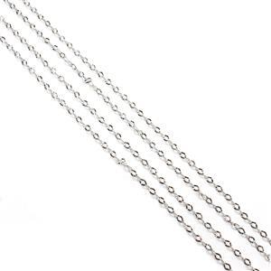 "Rhodium Plated 925 Sterling Silver 2.5mm Diamond Cut Oval Chain Approx 45cm/18"" (2pcs)"