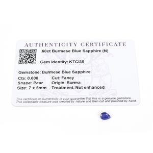 0.6cts Burmese Blue Sapphire 7x5mm Pear  (N)