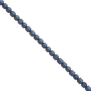 30cts Royal Blue Color Coated Hematite Matt Bicones Approx 3mm, 30cm Strand