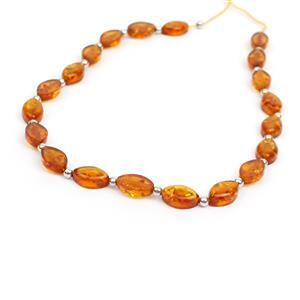 Baltic Cognac Amber Oval Bead Strand With Sterling Silver Spacers Approx 8x5mm, 20cm Strand