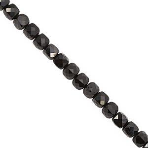 72cts Black Spinel Faceted Cube Approx 4mm, 38cm Strand