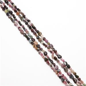 """280cts Multi Tourmaline Nuggets Approx 8x5mm, 60"""" Endless Strand"""