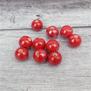 Red Round Ceramic Beads, Approx 15mm (10pcs)