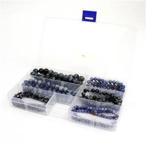 "6 Strands in Box Blue Jasper & Snowflake Obsidian Plain Round 4,6,8,10mm, 15-16"""